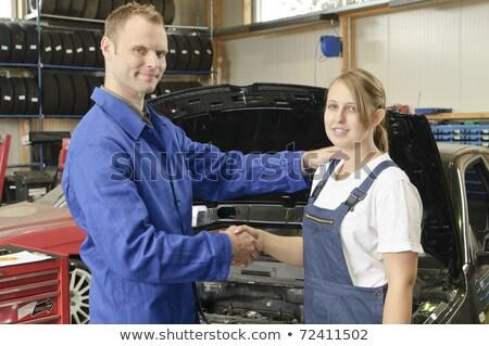 Auto Repair, Master congratulates students Stock photo © runzelkorn