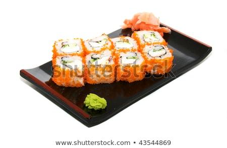 Stok fotoğraf: Ayarlamak · farklı · sushi · balık · yeşil · Japon