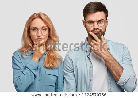 Mulher loira namorado queixo dedo Foto stock © feedough