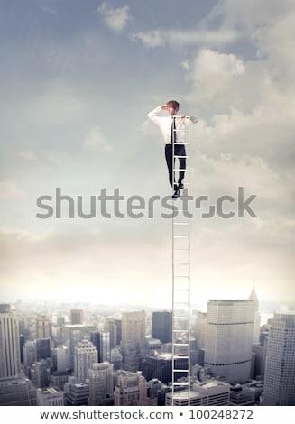 Foto stock: Empresário · distância · carreira · escada · jovem
