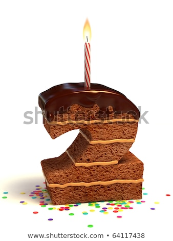 Birthday cake with burning candle number 2 Stock photo © Zerbor