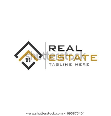 Abstrato casa logotipo imóveis negócio ouro Foto stock © shawlinmohd