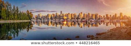Tükröződések Vancouver sziluett tenger kék utazás Stock fotó © eddygaleotti