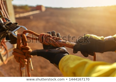 Two carabiners with knotted ropes Stock photo © ozaiachin