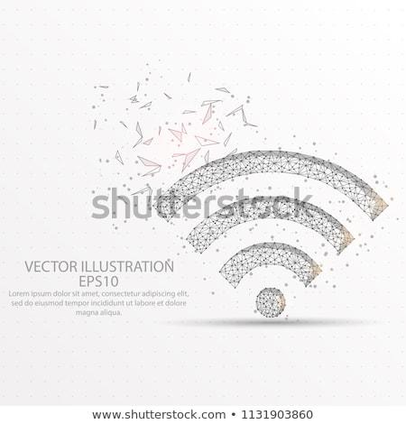 Poligon wifi részletes illusztráció jel felirat Stock fotó © unkreatives