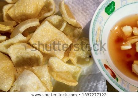 shrimp appetizer served on crackers stock photo © klinker