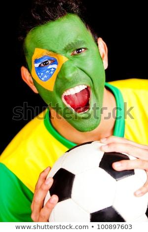 肖像 · サッカー · ファン · フラグ · ボディ · 顔 - ストックフォト © deandrobot