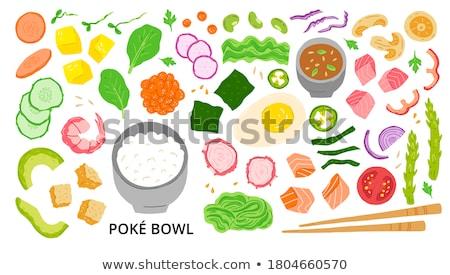 rizs · brokkoli · tál · piros · vegetáriánus · egészséges · étrend - stock fotó © zia_shusha