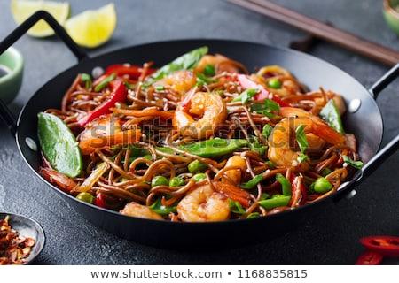 Soba noodle with fried shrimp Stock photo © Witthaya