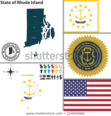 Map on flag button of USA Rhode Island State Stock photo © Istanbul2009