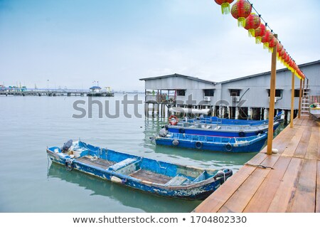 Boats Docked at Chew Jetty in Georgetown, Penang, Malaysia Stock photo © pzaxe
