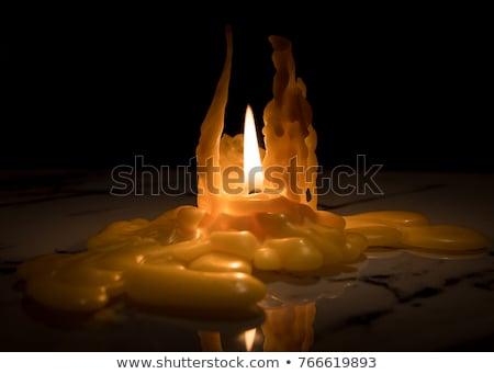 antik · fém · gyertyatartó · égő · gyertya · fekete - stock fotó © morrbyte