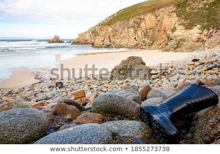 Pescatore rocce spiaggia lungo isola ny Foto d'archivio © rmbarricarte