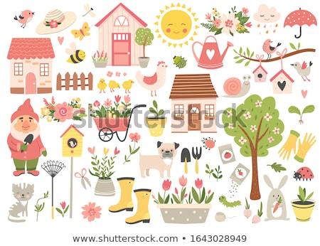 Bloempot winkelwagen groot tuin home zomer Stockfoto © olandsfokus