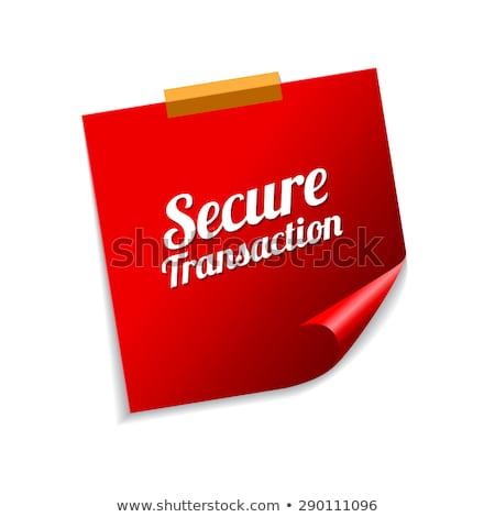 Biztonságos tranzakció piros cetlik vektor ikon Stock fotó © rizwanali3d