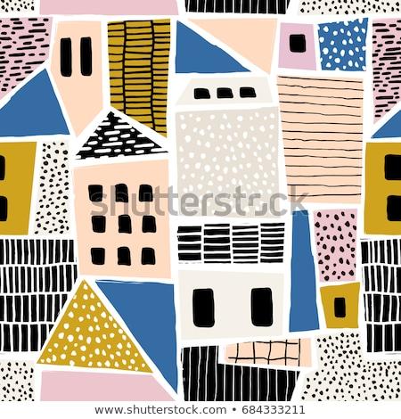 стилизованный город шаблон четыре бесшовный Сток-фото © tracer