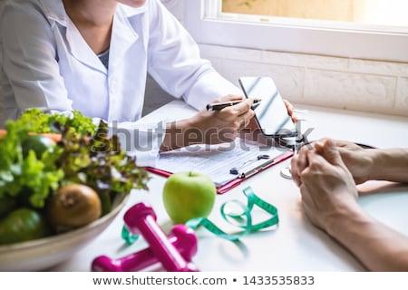 Voedingsdeskundige illustratie glimlach appel fitness vruchten Stockfoto © adrenalina