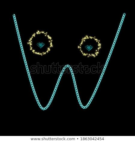 Gems W letter. Shiny diamond font. Stock photo © logoff