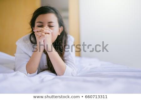 dua · eden · genç · kız · resim · beyaz · kadın · eller - stok fotoğraf © dolgachov