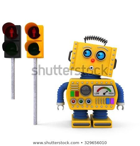 Vintage игрушку робота светофора желтый Сток-фото © creisinger