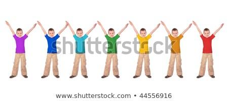 Stock fotó: Sok · fiúk · szivárvány · szín · sportok · pólók