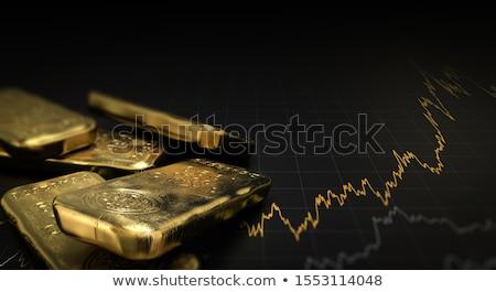 Foto stock: Estoque · traçar · moedas · de · ouro · laptop · tela · teclado