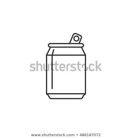 Eldobható csésze iszik szalmaszál vonal ikon Stock fotó © RAStudio