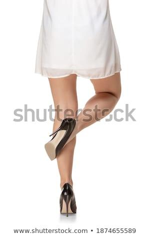 preto · couro · sapato · branco · mulher - foto stock © elisanth