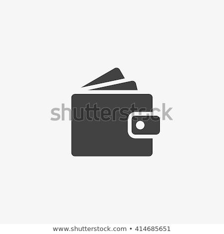 Cüzdan ikon kare düğme beyaz gri Stok fotoğraf © ahasoft