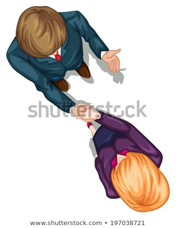 A topview of two people shaking their hands Stock photo © bluering