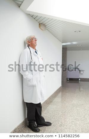 Férfi orvos dől asztal illusztráció férfi orvos Stock fotó © lenm