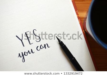 can · metin · notepad · ofis · araçları · ahşap · masa - stok fotoğraf © fuzzbones0