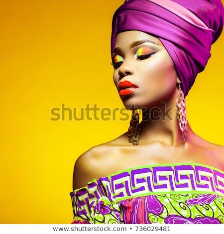 Beauté orange lèvres heureux blond or Photo stock © lubavnel