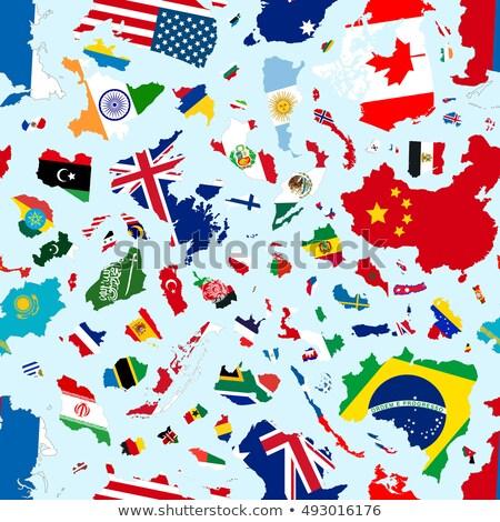 Stockfoto: Silhouetten · wereld · landen · vlaggen · geïsoleerd · Blauw