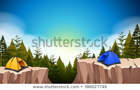 camp site with two tents on the cliff stock photo © bluering
