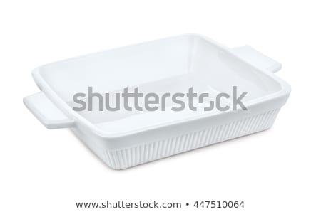 Porselein lasagne schaal geïsoleerd witte schone Stockfoto © Digifoodstock