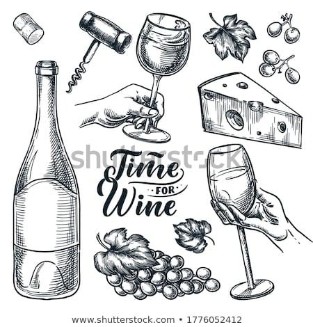 glass of wine sketch icon stock photo © rastudio