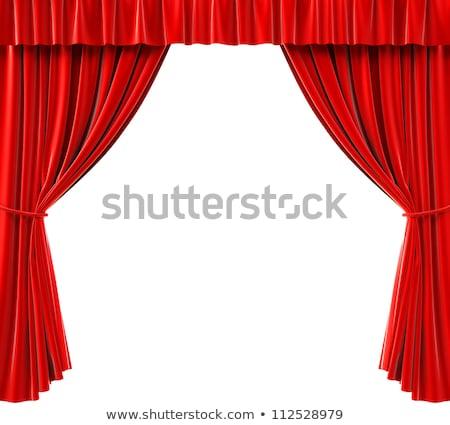 nyitva · színház · függönyök · 3d · render · mutat · piros - stock fotó © sarts