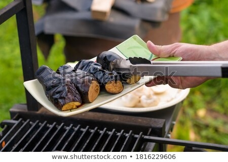 charcoal for grill on a ceramic plate stock photo © lunamarina
