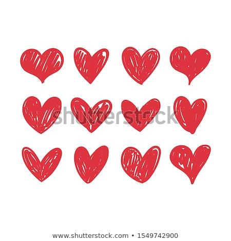 Doodle cuore carta san valentino contorno floreale Foto d'archivio © pakete