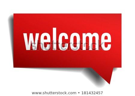 bem-vindo · vermelho · realista · adesivo · isolado · branco - foto stock © Mediaseller