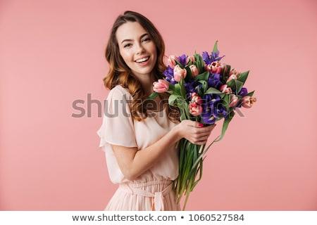 женщину · розовый · цветы · улыбаясь · улыбка - Сток-фото © lightfieldstudios