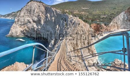 один · красивой · пляжей · греческий · праздников · бирюзовый - Сток-фото © Freesurf