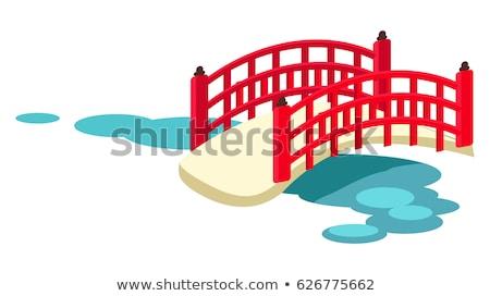 Japanese Arched Garden Bridge Across Pond Vector Stock photo © robuart