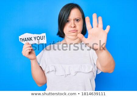 Teşekkürler kelime kadın açmak palmiye el Stok fotoğraf © studiostoks