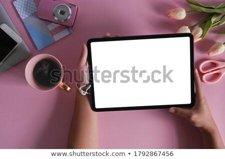 женский стороны таблетка черный эспрессо ноутбук Сток-фото © wavebreak_media