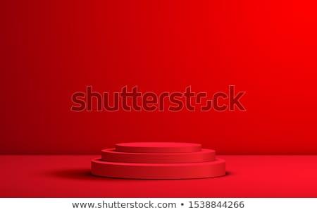 Kırmızı silindir podyum sayılar rütbe Stok fotoğraf © Oakozhan