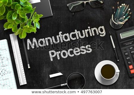 Manufacturing Process on Black Chalkboard. 3D Rendering. Stock photo © tashatuvango