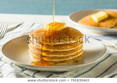 Pannenkoeken honing heerlijk eigengemaakt mint Stockfoto © zhekos