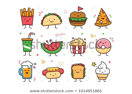 sticker design with many kids eating sweets stock photo © bluering